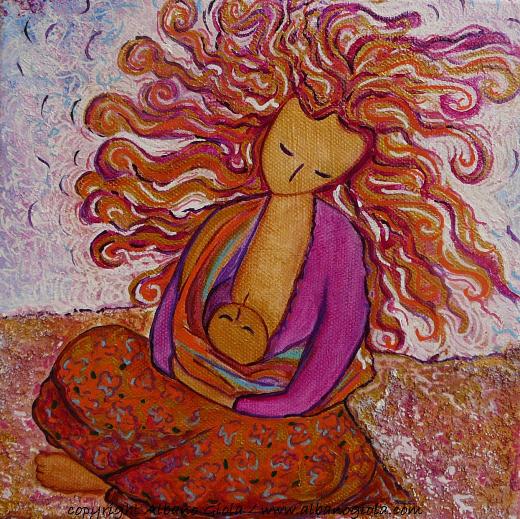 Babywearing art breastfeeding art motherhood art In the colorfull sand Gioia Albano