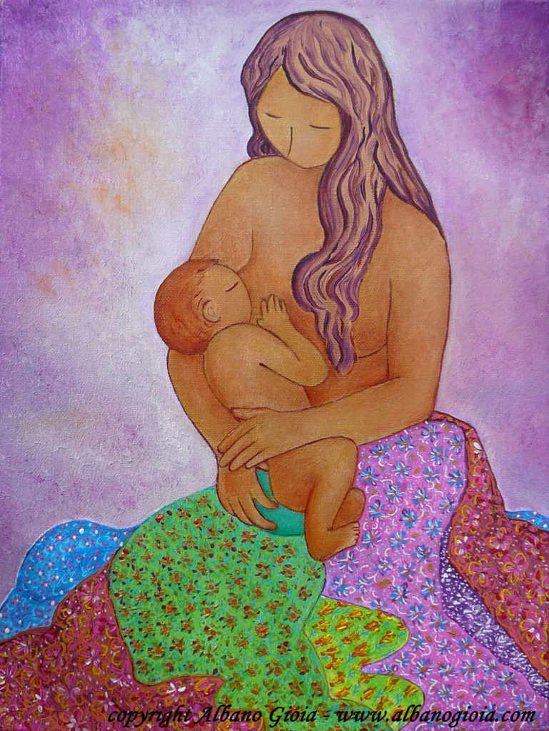 Breastfeeding art motherhood image painting Nurturing mama in a flowered skirt Gioia Albano