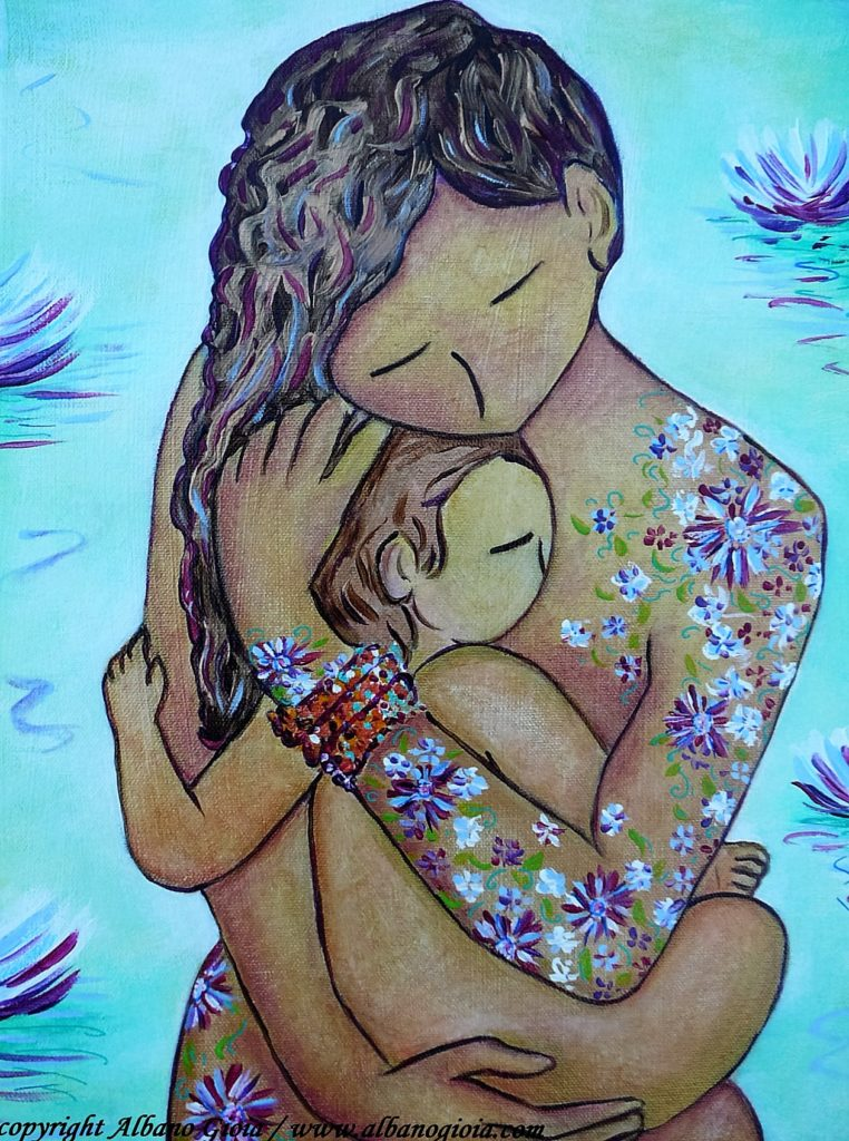 Motherhood art painting Motherhood flowers all over Gioia Albano